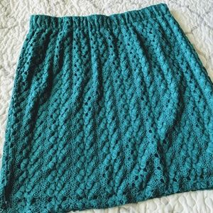 Cato teal lace stretch knee length size large